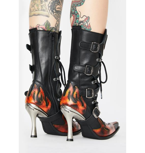New Rock Flame Heeled Boots