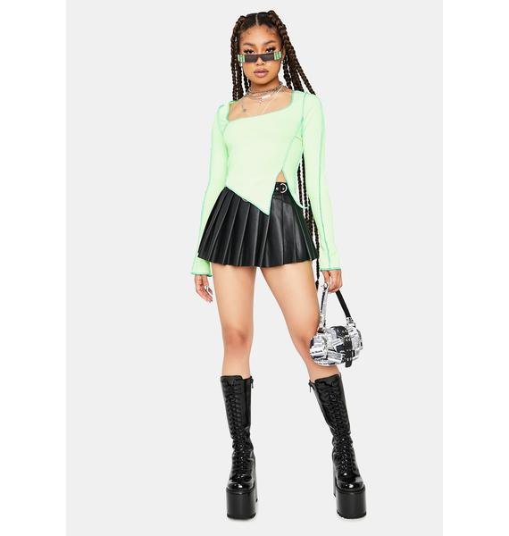 Lime Classy Command Contrast Stitch Asymmetrical Crop Top