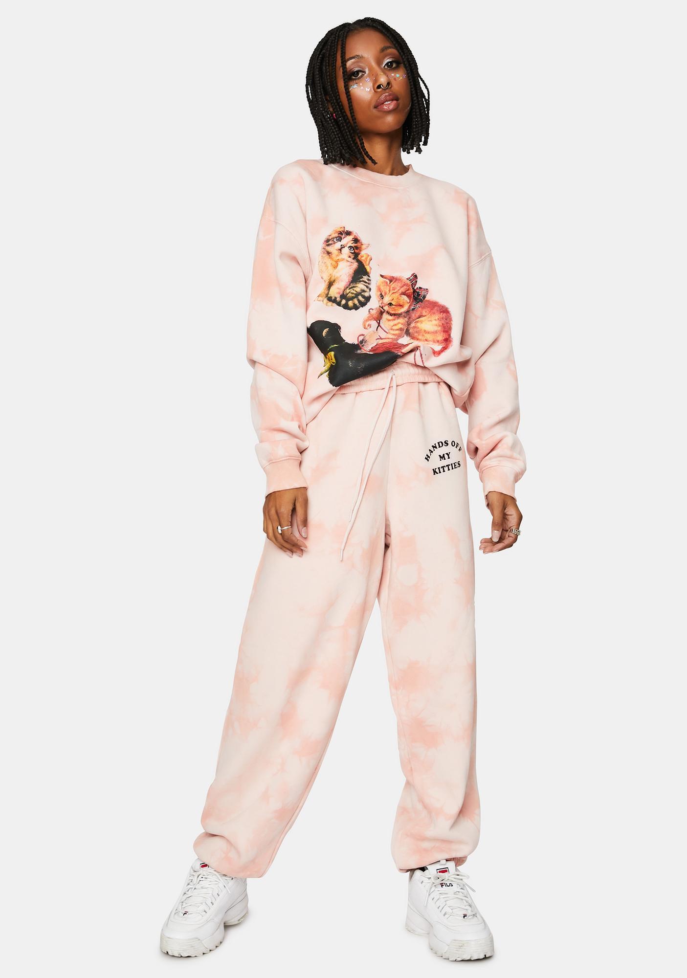 NEW GIRL ORDER Kitten Peach Tie Dye Joggers