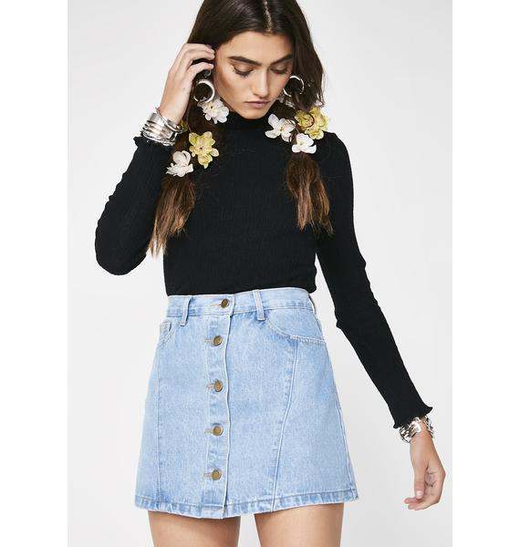 Close Up Denim Skirt