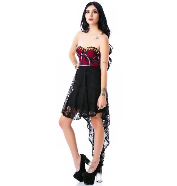 So Called Life Studded Plaid Dress