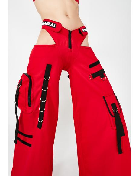 Red Canvas Rave Panty Trousers