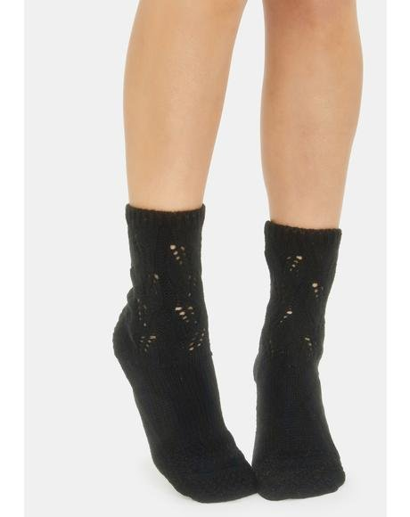 Night No Place Like Home Pointelle Crew Socks