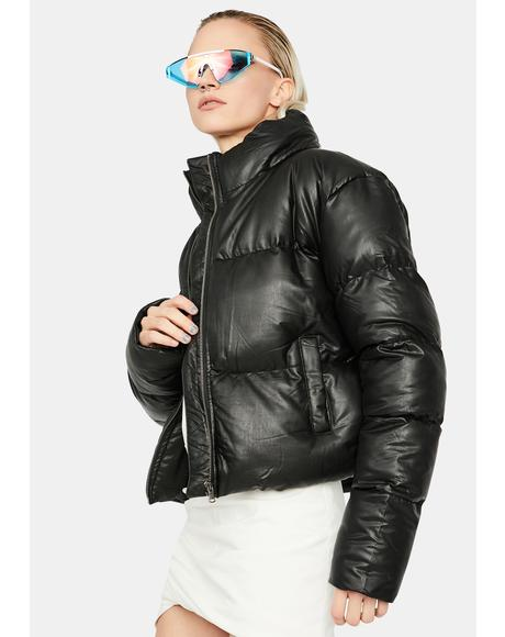 Pulling Up Drawcord Puffer Jacket