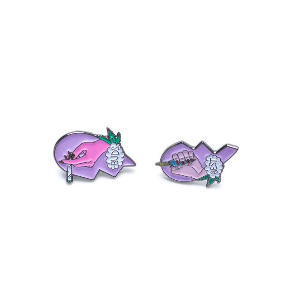 Sara M Lyons Best Buds Enamel Pin Set