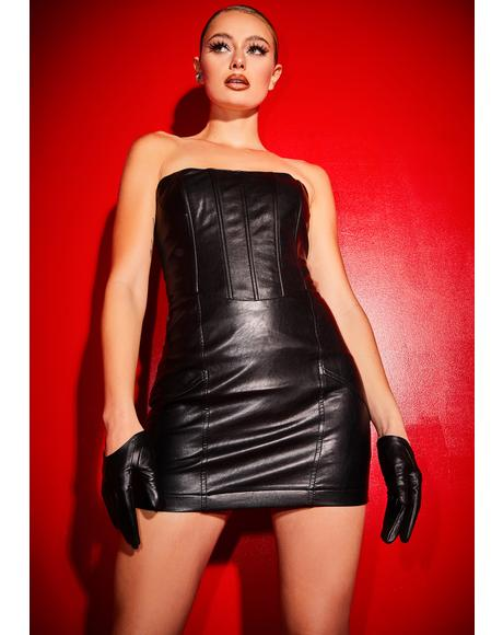 Been There Won That Faux Leather Corset Dress