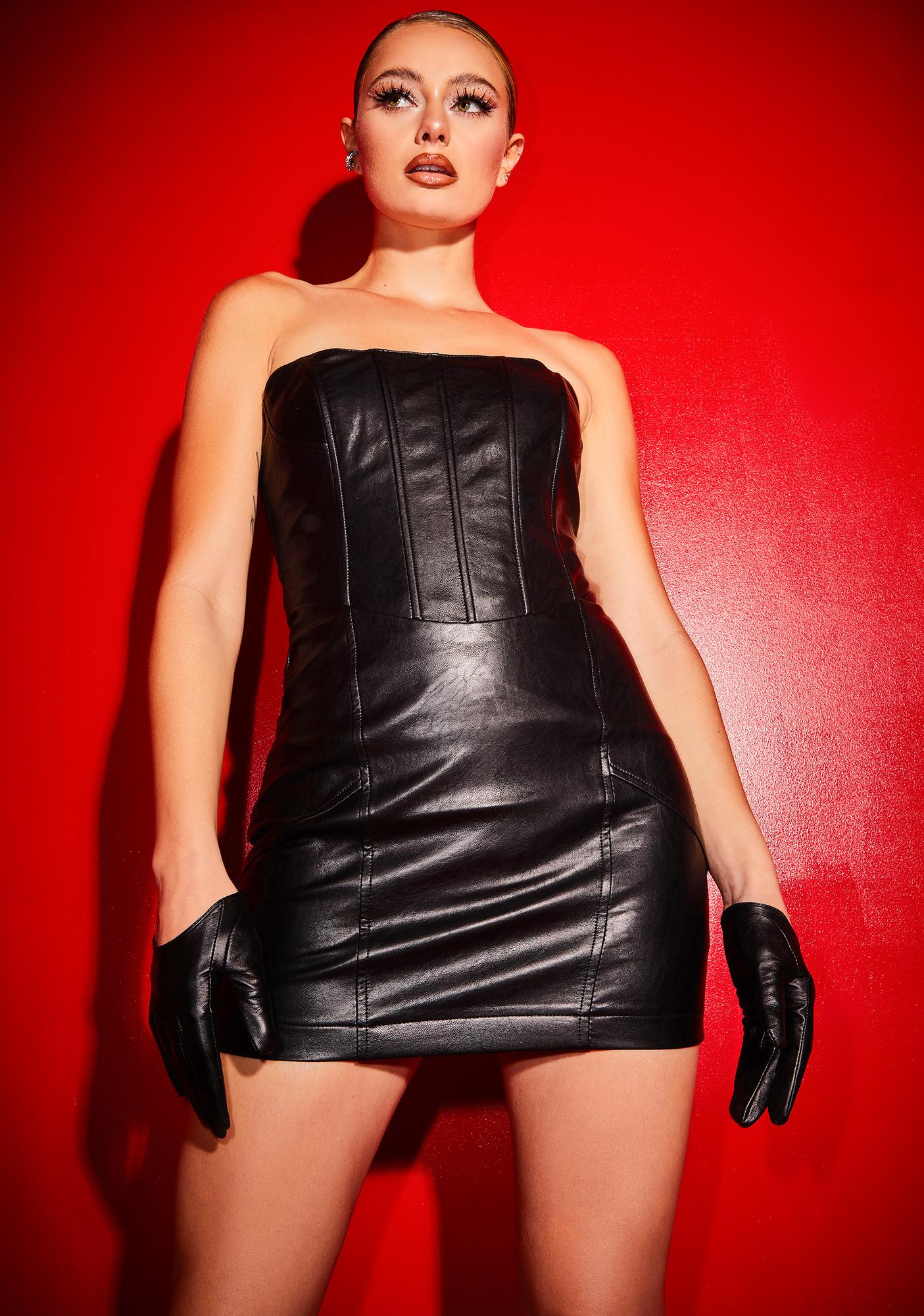 Poster Grl Been There Won That Faux Leather Corset Dress