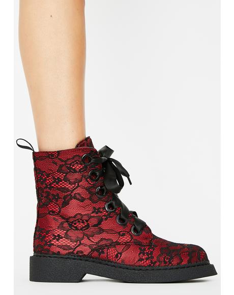 Red Fake Love Combat Boots