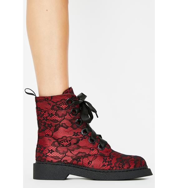 Lamoda Red Fake Love Combat Boots