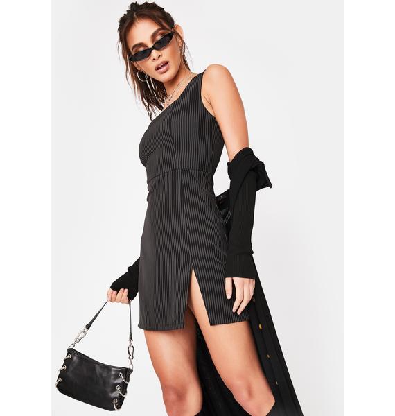Honey Punch Black Pinstripe Mini Dress