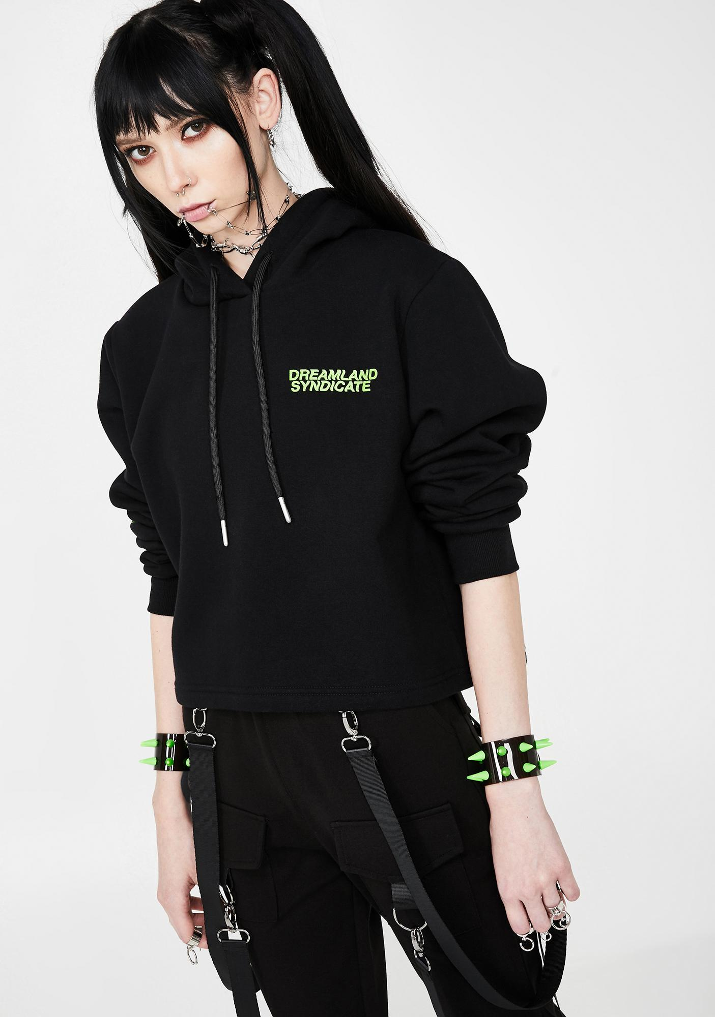 Dreamland Syndicate Flames Cropped Hoodie