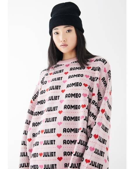x Romeo & Juliet Pink Big Knit Sweater
