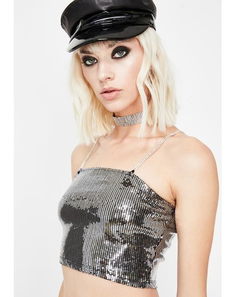 Chrome Illuminated Euphoria Sequin Crop Top