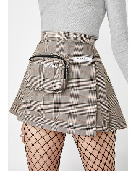 Plaid Pencil Case Pleat Skirt