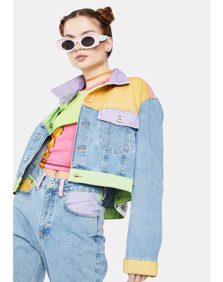Yippie Colorblock Denim Jacket