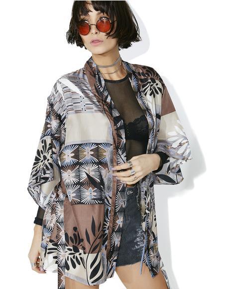 Woodland Wonders Silk Printed Kimono