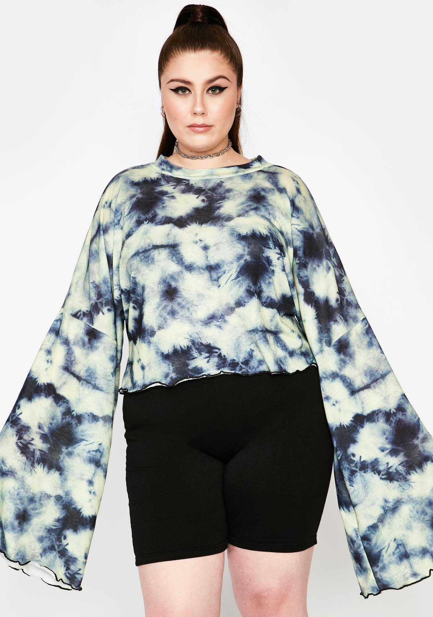 NEW GIRL ORDER Curve Tie Dye Knitted Crop Top