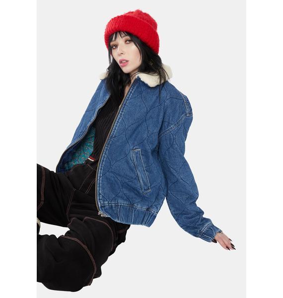 BDG Blue Quilted Denim Harrington Jacket