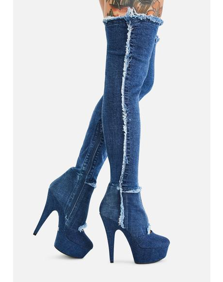 Come Get It Denim Thigh High Boots
