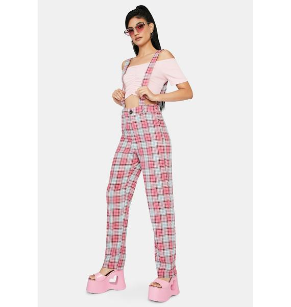 Take My Lead Suspender Plaid Pants