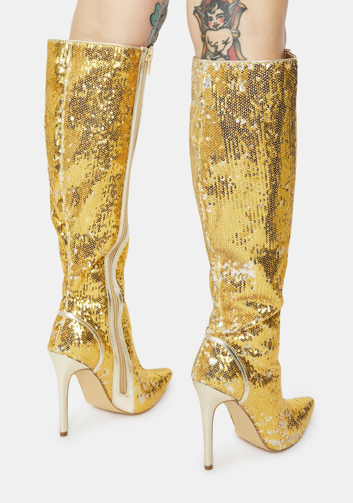 Red Carpet Walk Sequin Knee High Boots