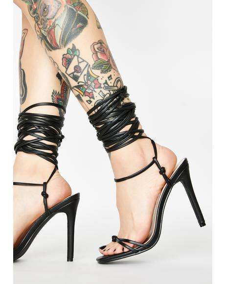 Black Sincere Lace Up Heels
