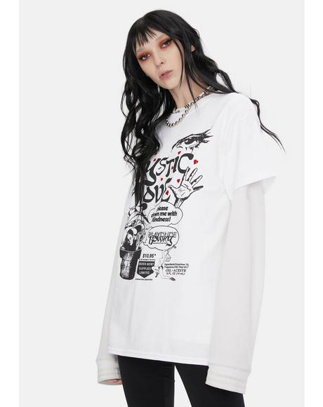 X Playdude White Mystic Love Graphic Tee