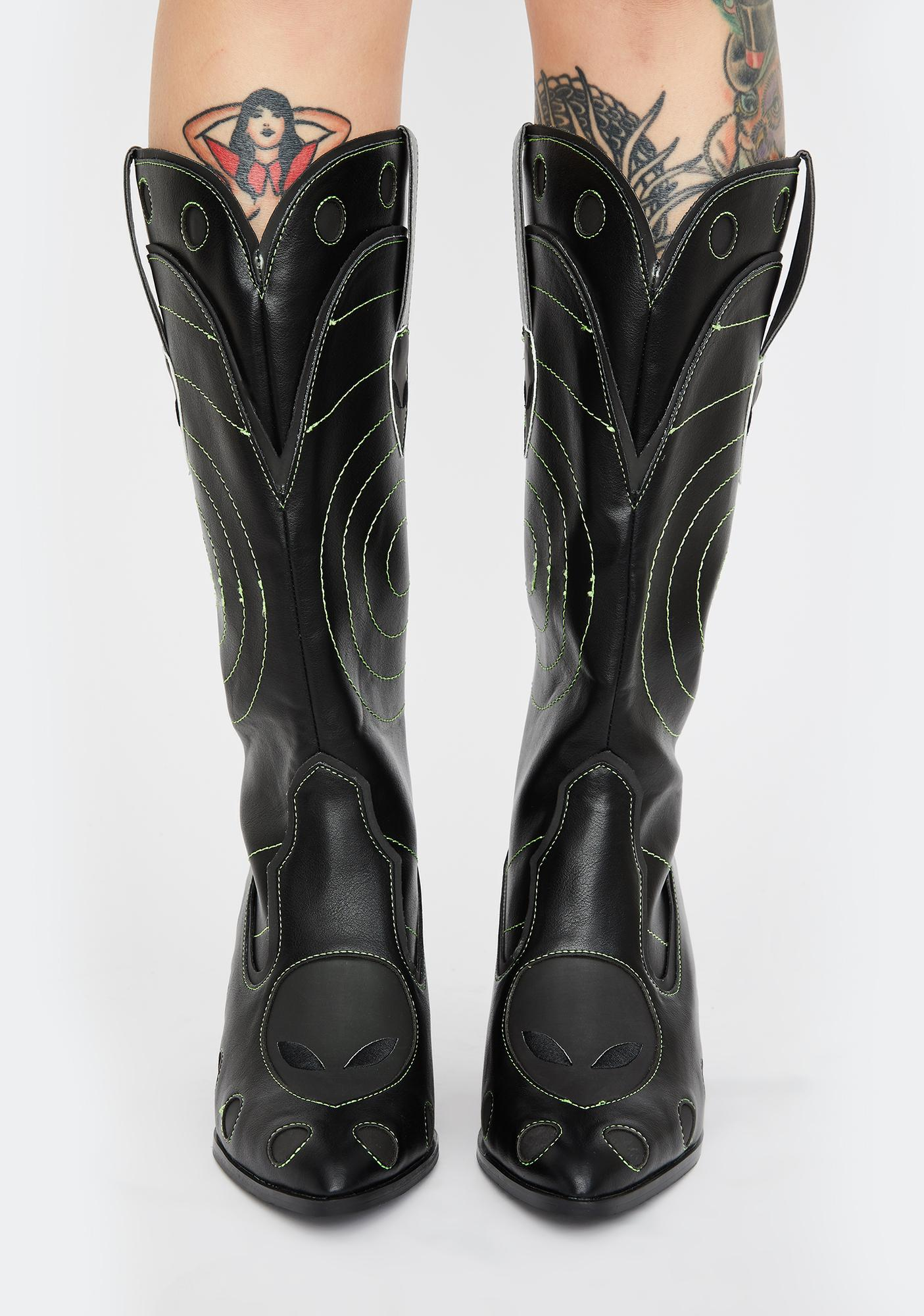 Y.R.U. Green Heat Activated Space Cowgirl Boots