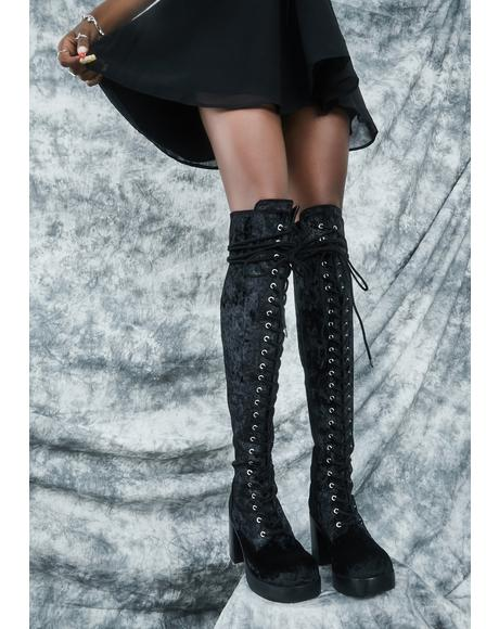 Original Sin Velvet Knee High Boots