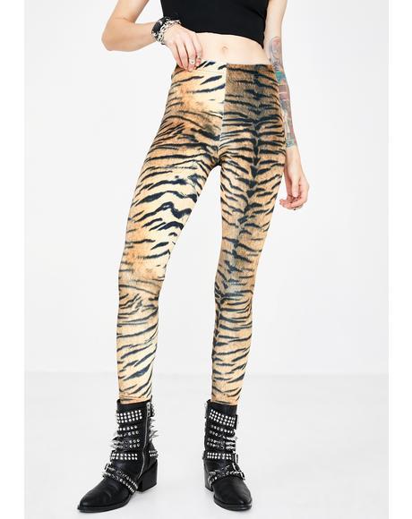Tiger Velvet Printed Leggings