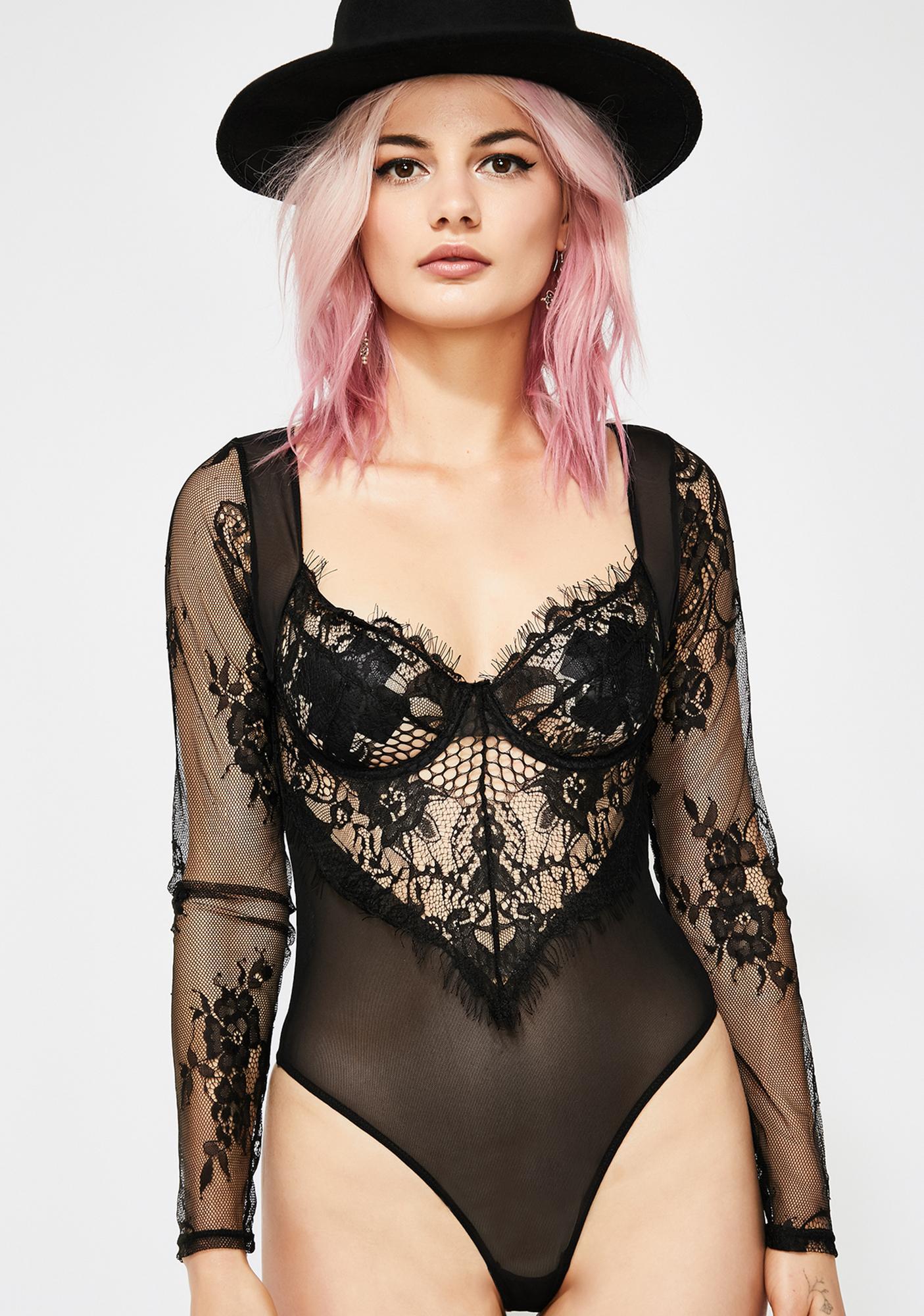 8d2a65d6f16 Noir Snatched Sinner Lace Bodysuit