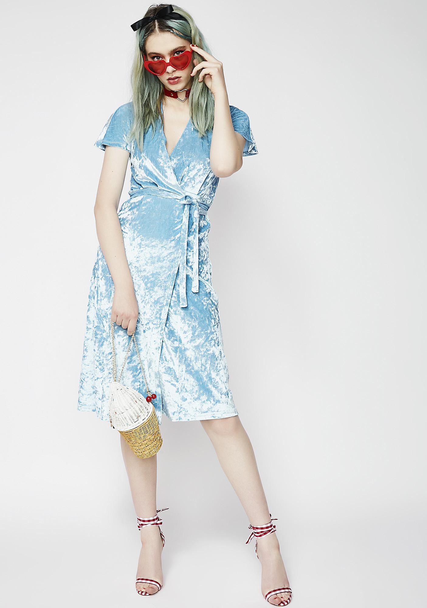 Sky Flirt Back Wrap Dress