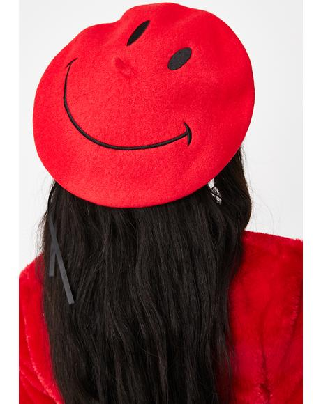 Cherry Feelin' Good Smiley Beret