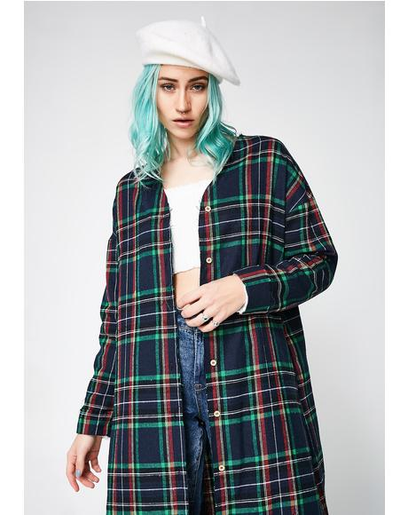 Lapis Holiyay Plaid Duster