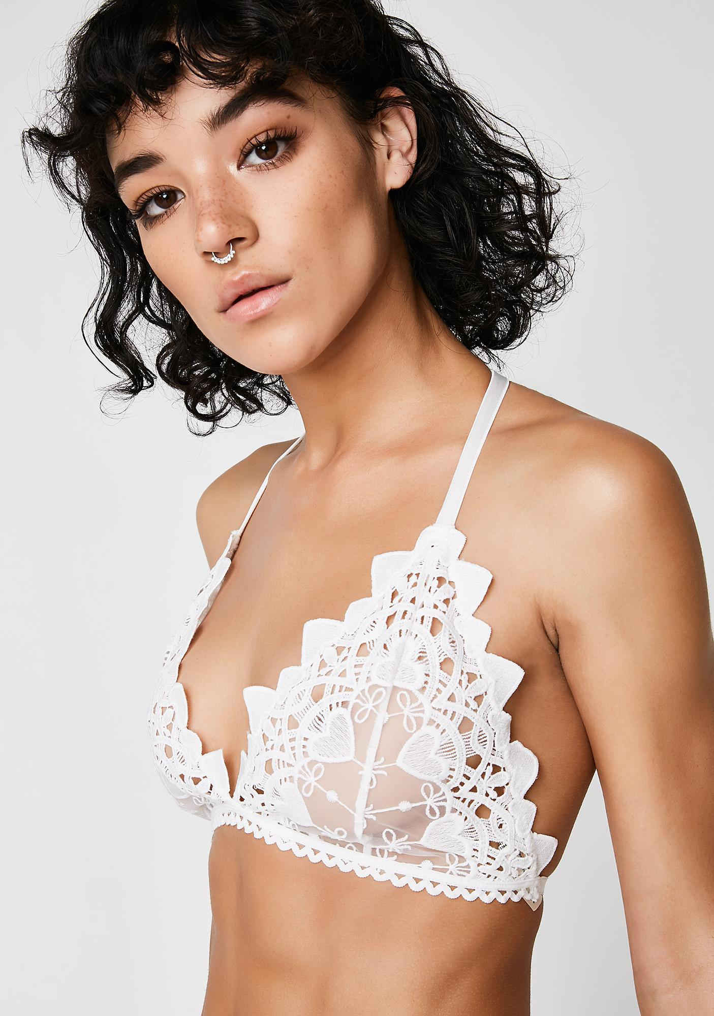 Next to Nothing  Snow Drop Venetian Lace Flowers Bra