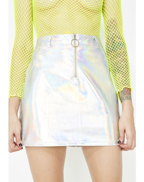 Rocket Science Holographic Mini Skirt
