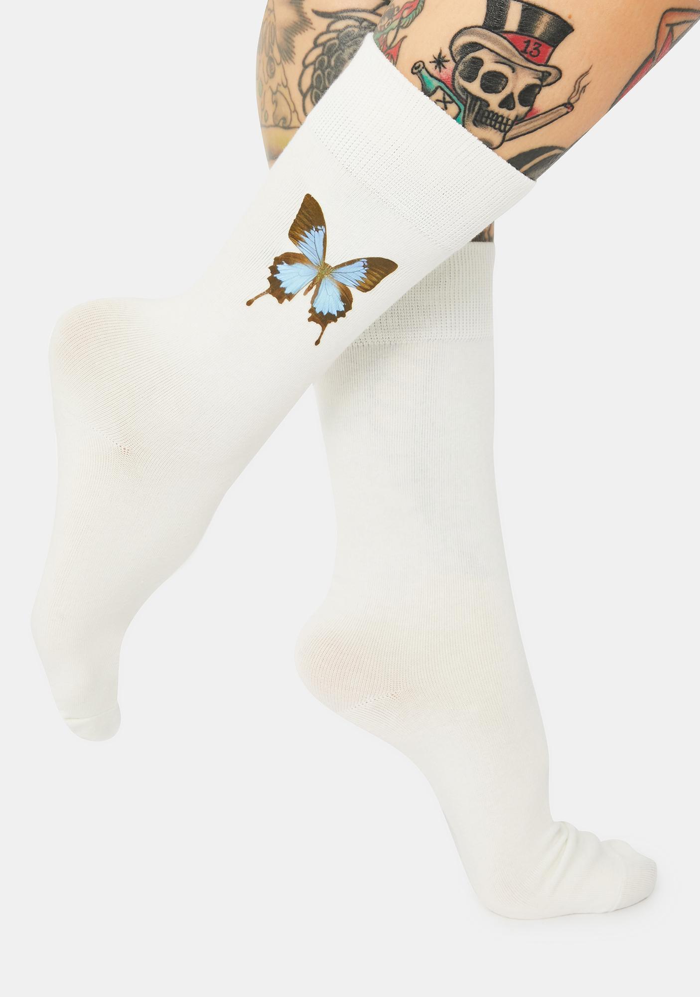 Fantasmic Skies Butterfly Crew Socks