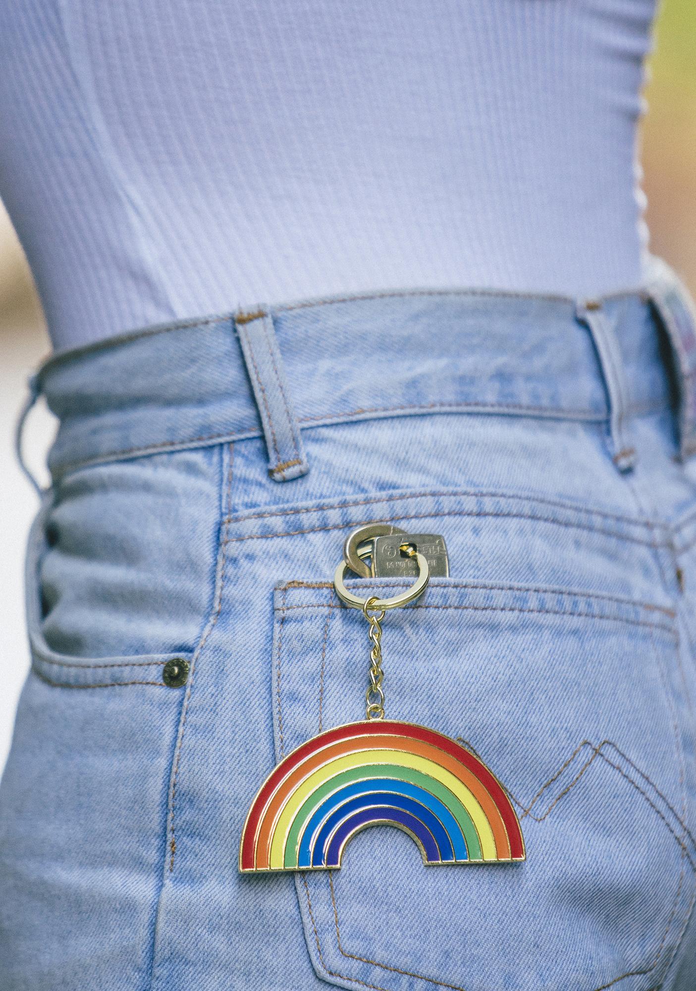 Key To Happiness Rainbow Keychain