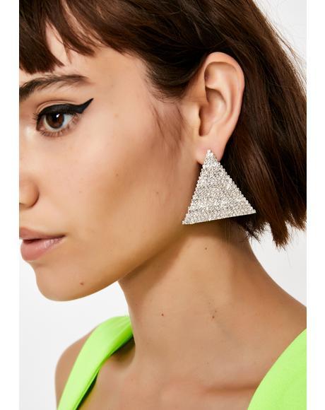 Pyramid Scheme Rhinestone Earrings