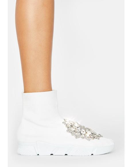 White Siren Rhinestone Sock Boots