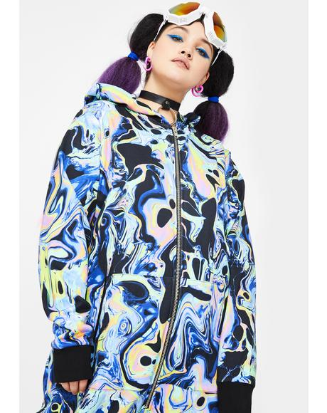 Swirly Acid Dimension Hooded Onesie