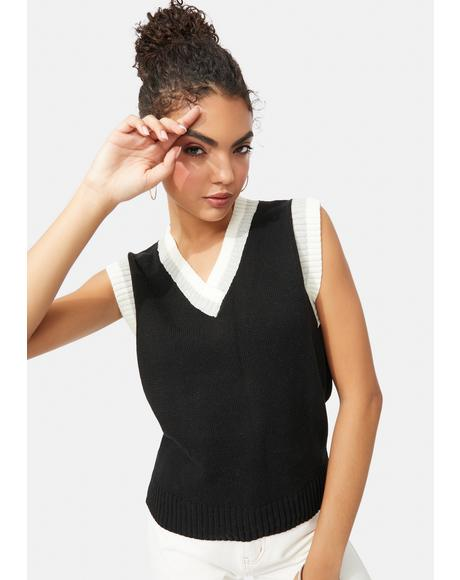 Noir Act Up Academy Striped Sweater Vest