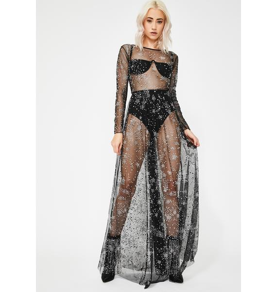 Kiki Riki Diamonds In The Sky Sheer Maxi Dress
