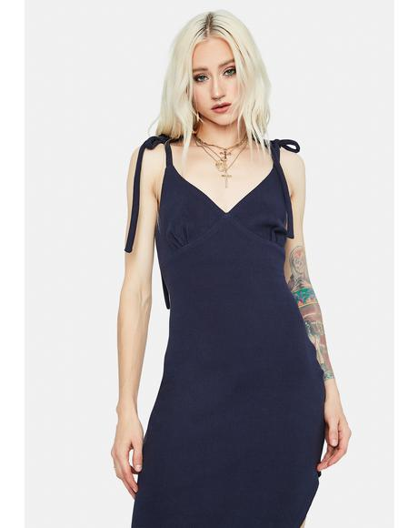 Navy Call Me Chic Tie Strap Midi Dress