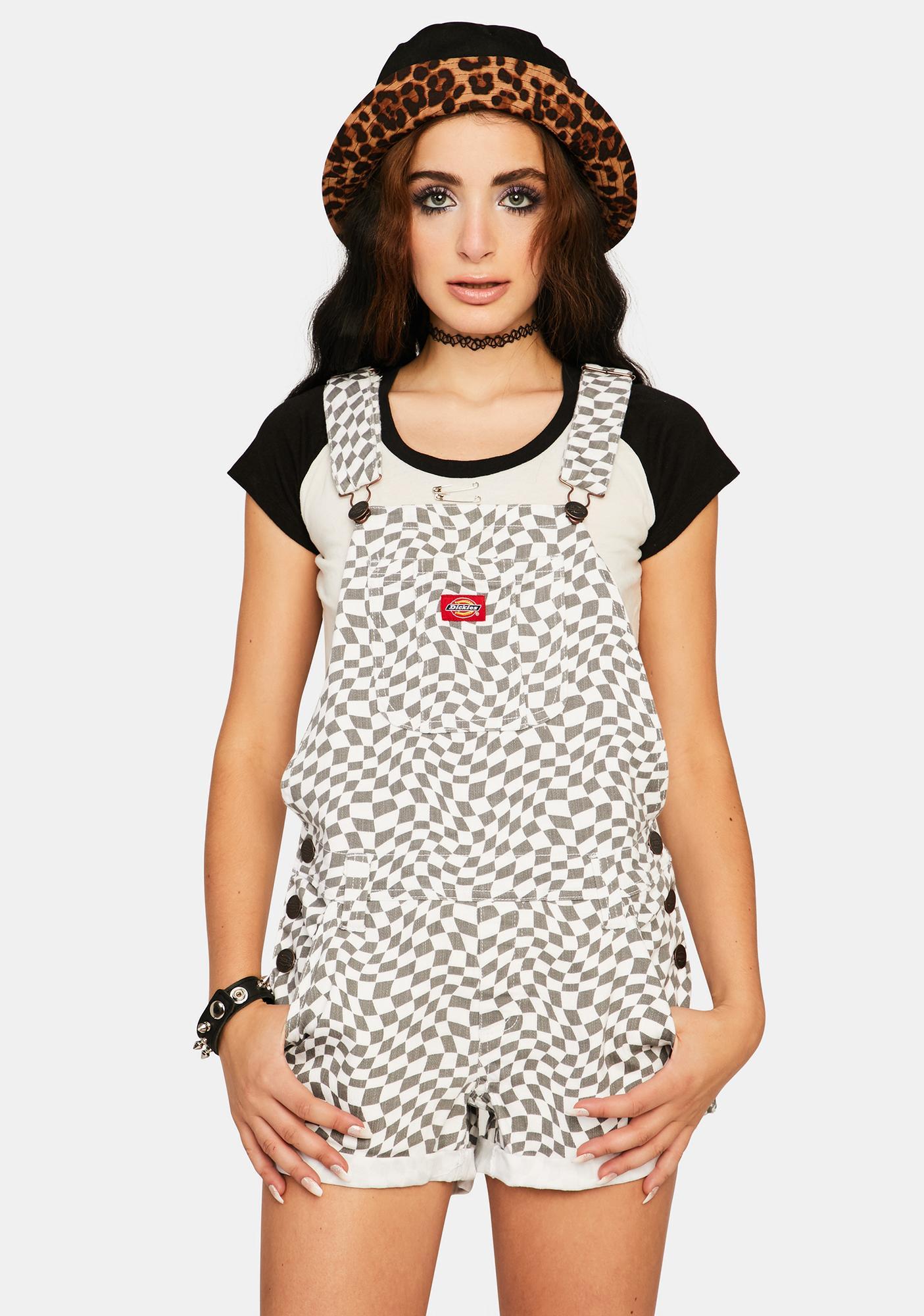 Dickies Girl Checkered Swirl Shortalls