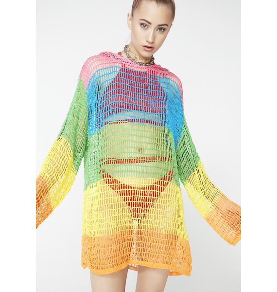 Current Mood Sorbet Shortie Crochet Hoodie
