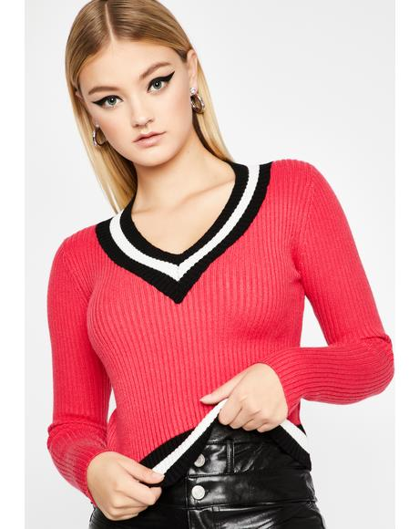 Baby Made Varsity Ribbed Sweater