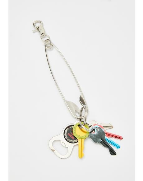 Punk Mood Safety Pin Keychain