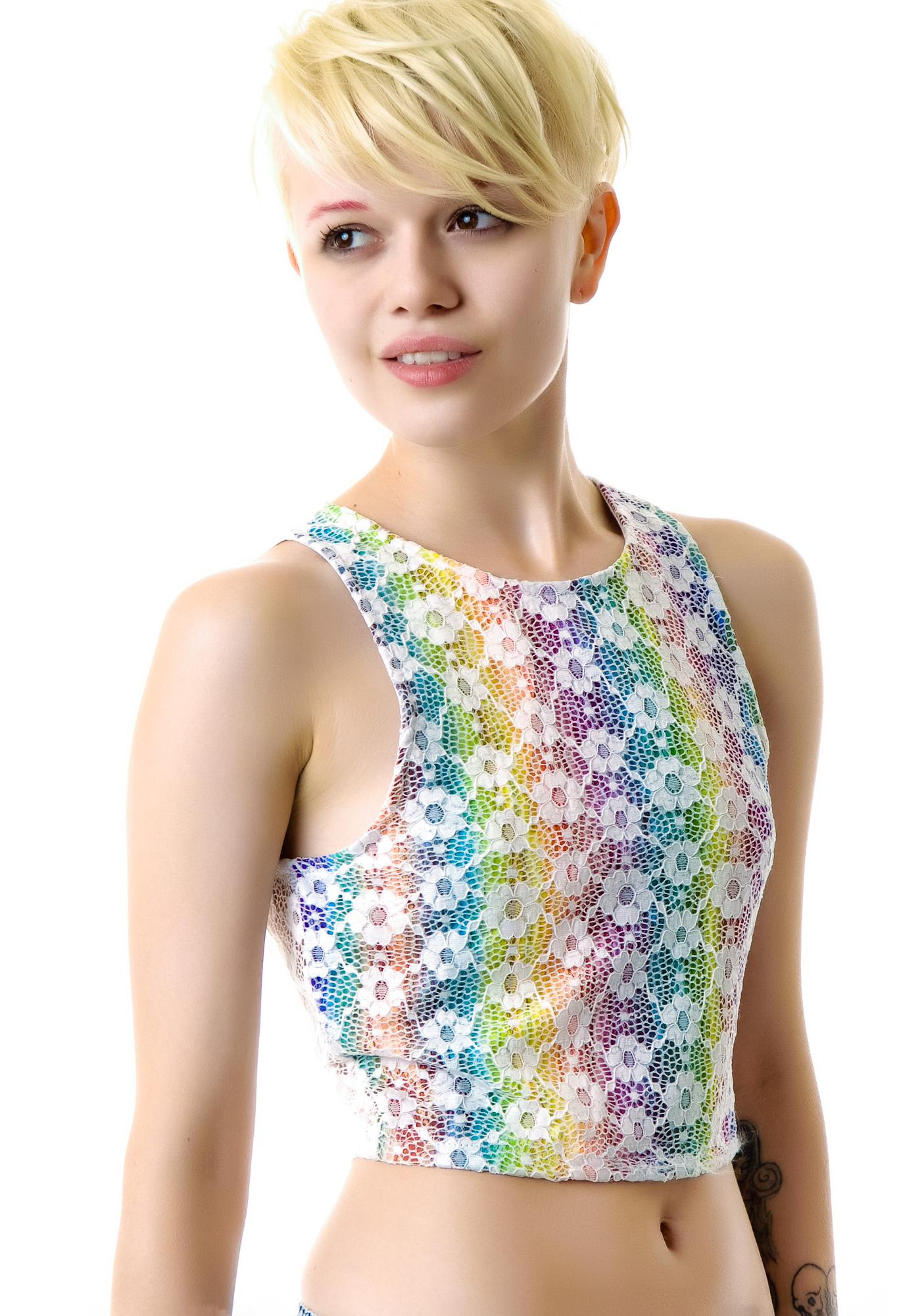 Mink Pink Daisy Rainbow Crop Top