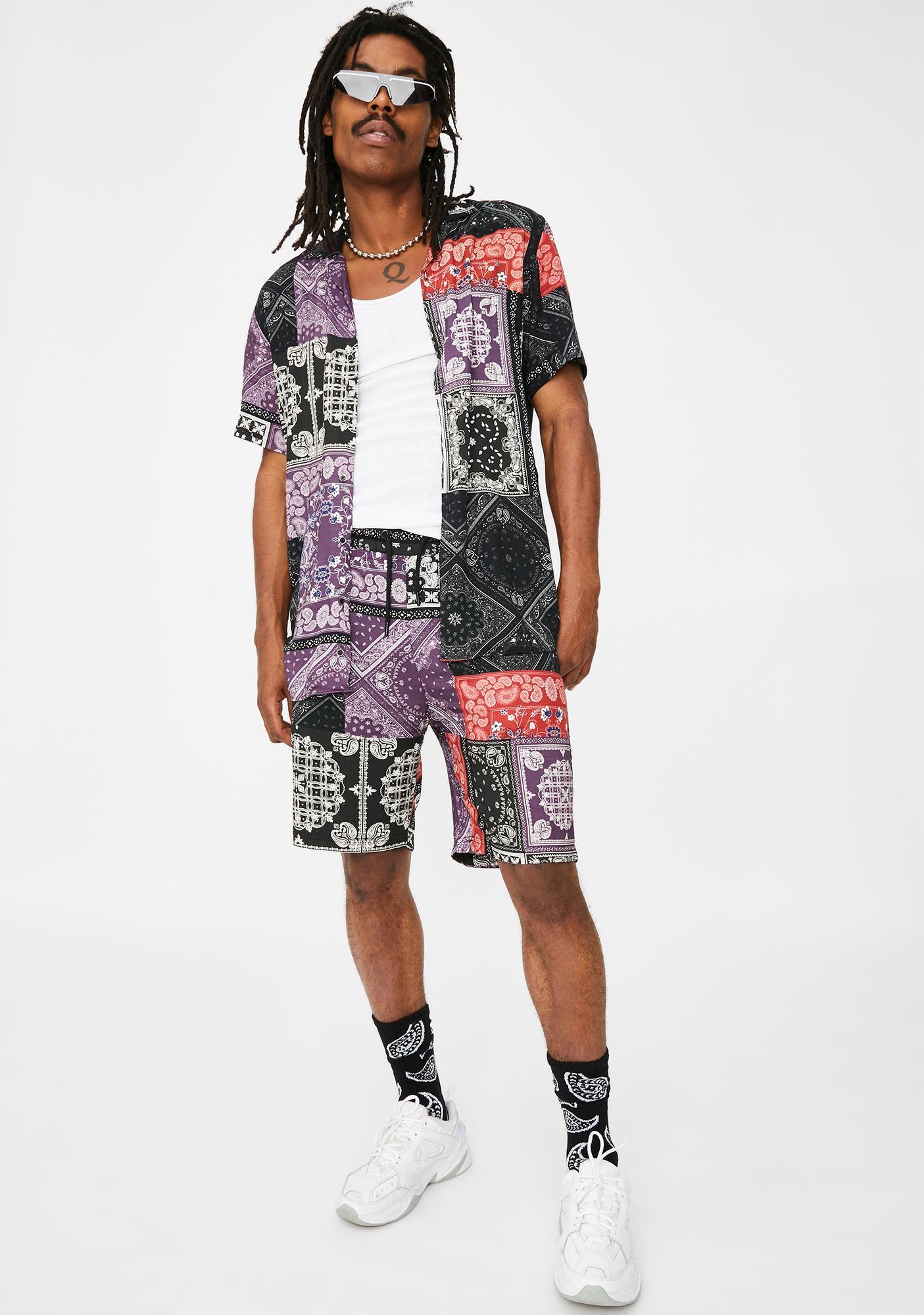 Criminal Damage Bandana Mashup Button Up Shirt